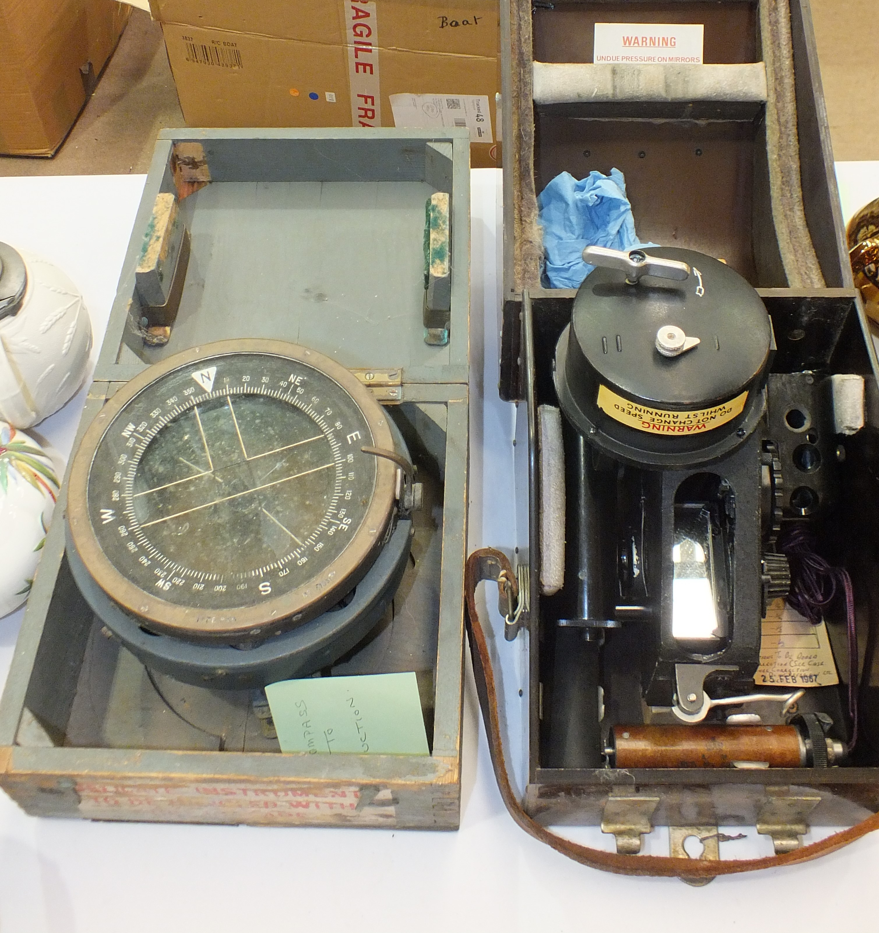 Lot 112 - A Type-P10 compass in box and a military-issue bubble Sextant Mark 9, cased.