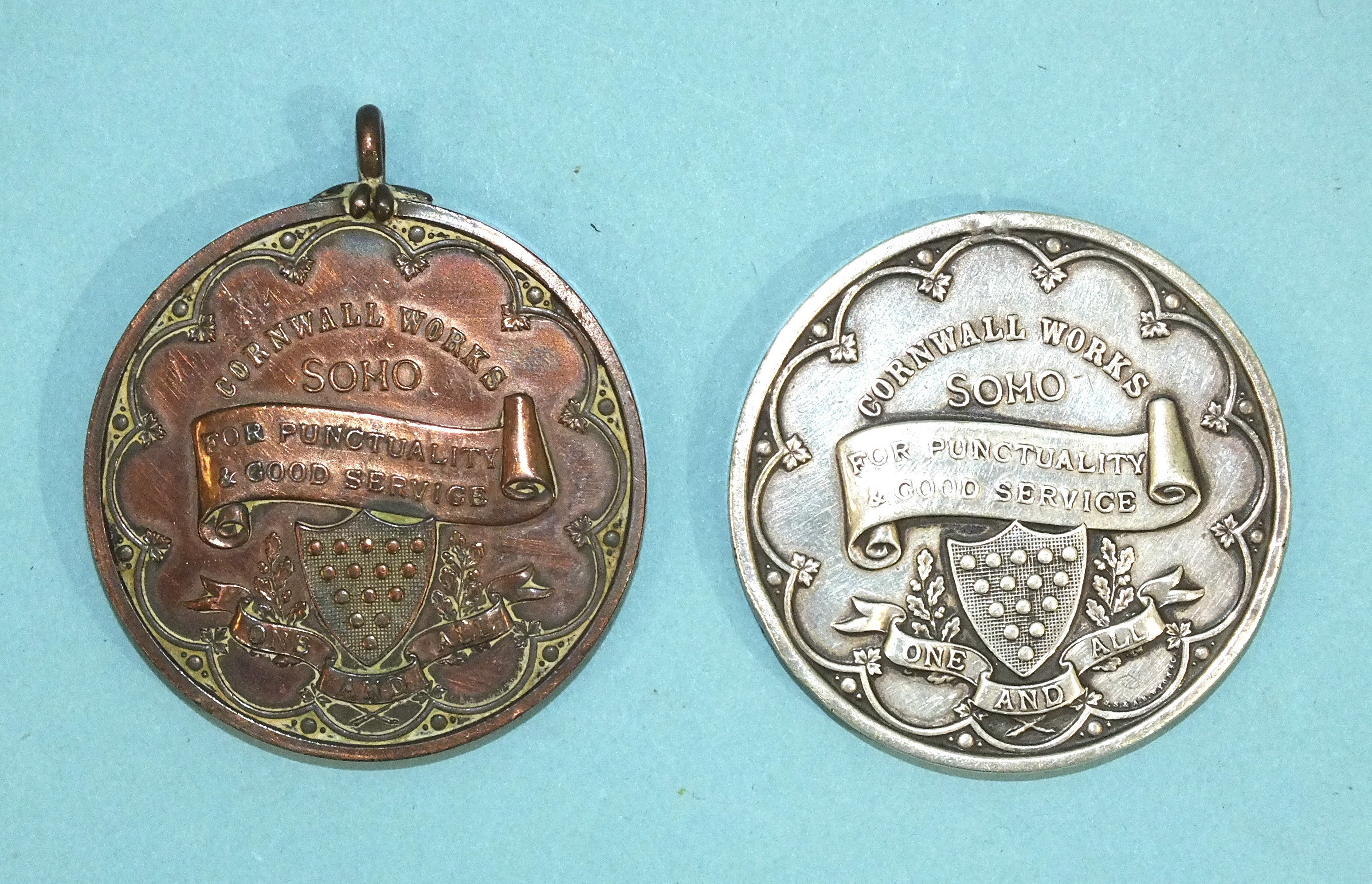 Lot 170 - An antique white metal medallion, Tangye Brothers, Engineers, Birmingham, presented to W Taylor Sept