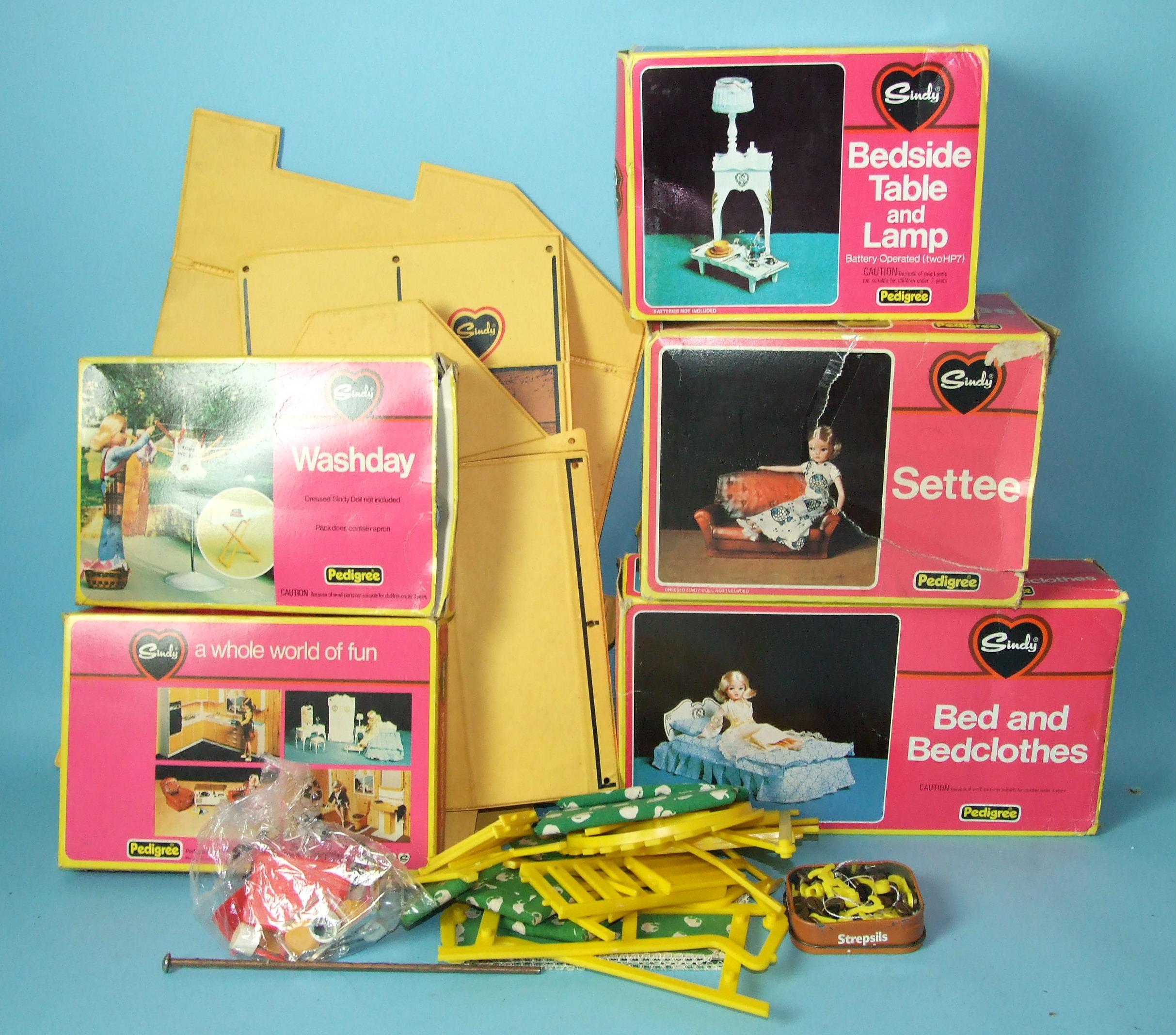 Lot 452 - Thirteen boxed Pedigree Sindy accessories: Motorcycle, 'Walk in the Park', Wardrobe, Wash Basin