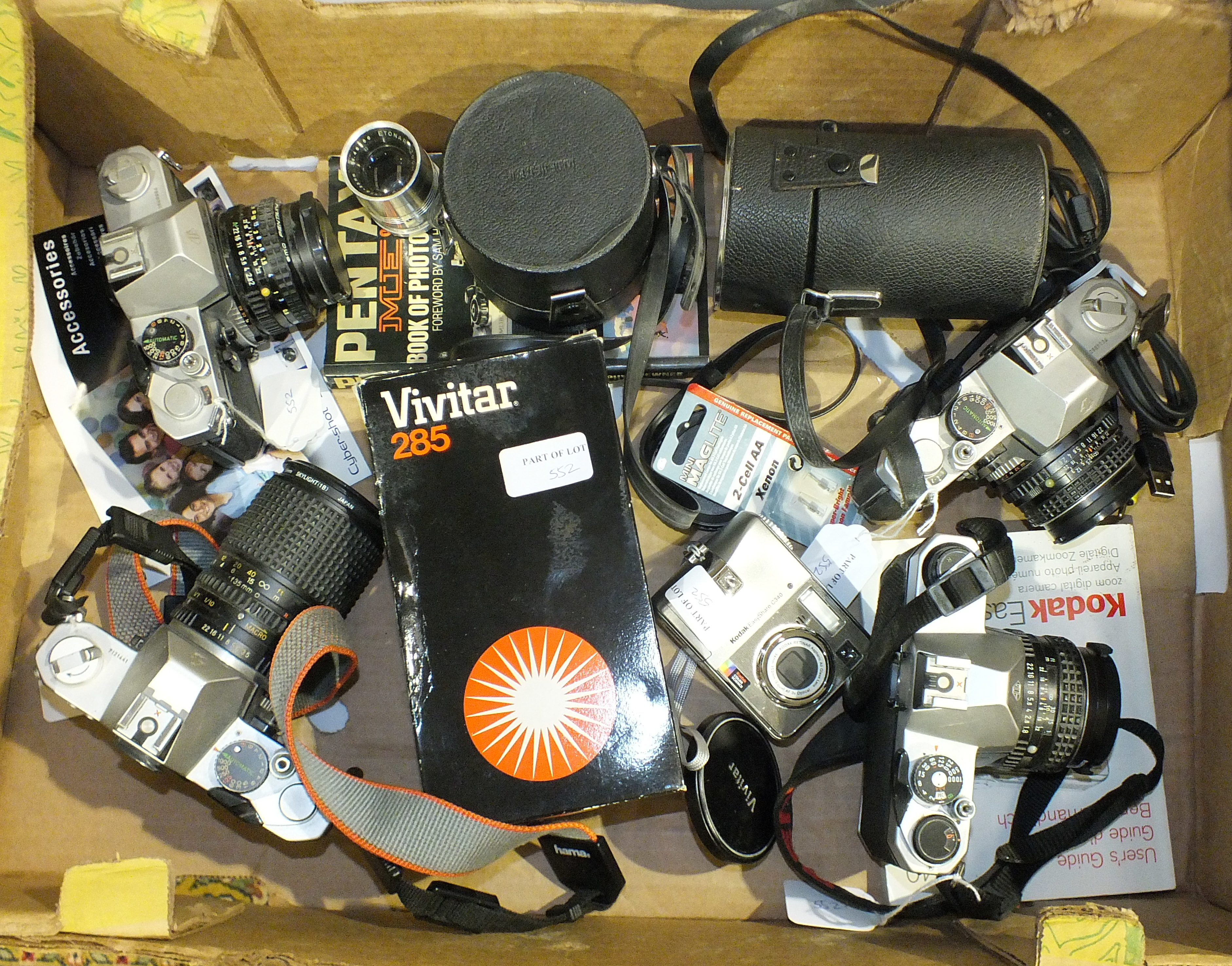 Lot 552 - Four Asahi/Pentax cameras: three K2 and one K1000, three other lenses and other items.