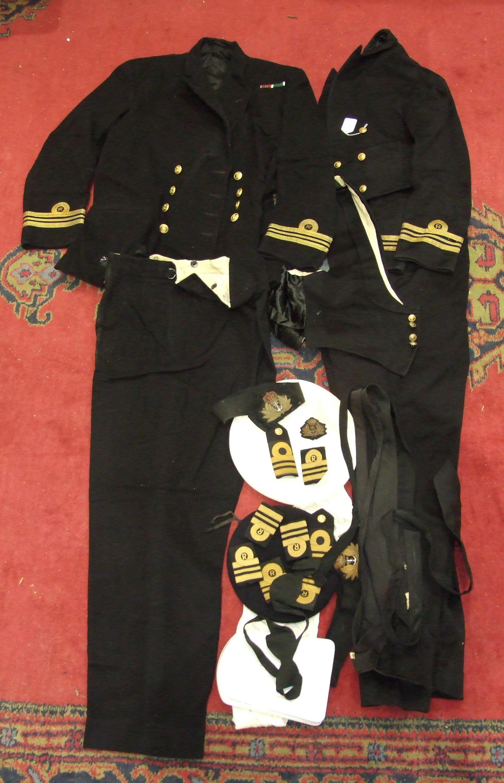 Lot 519 - A quantity of Royal Navy Reserves uniform of a Lieutenant Commander: No.1 dress jacket and trousers,