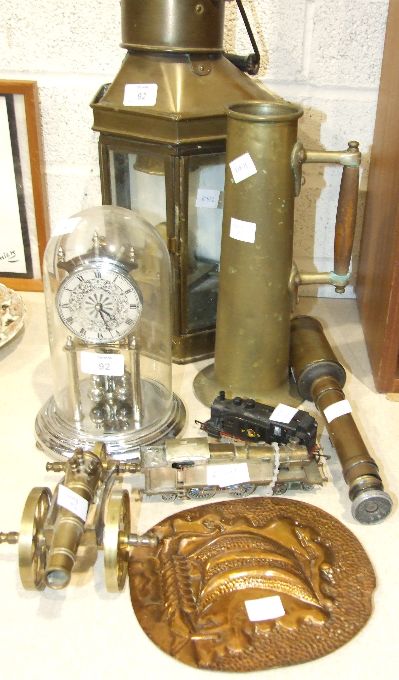 Lot 92 - A brass masthead oil lamp complete with burner, stamped Holder Stroud Sydney, a scratch-built OO