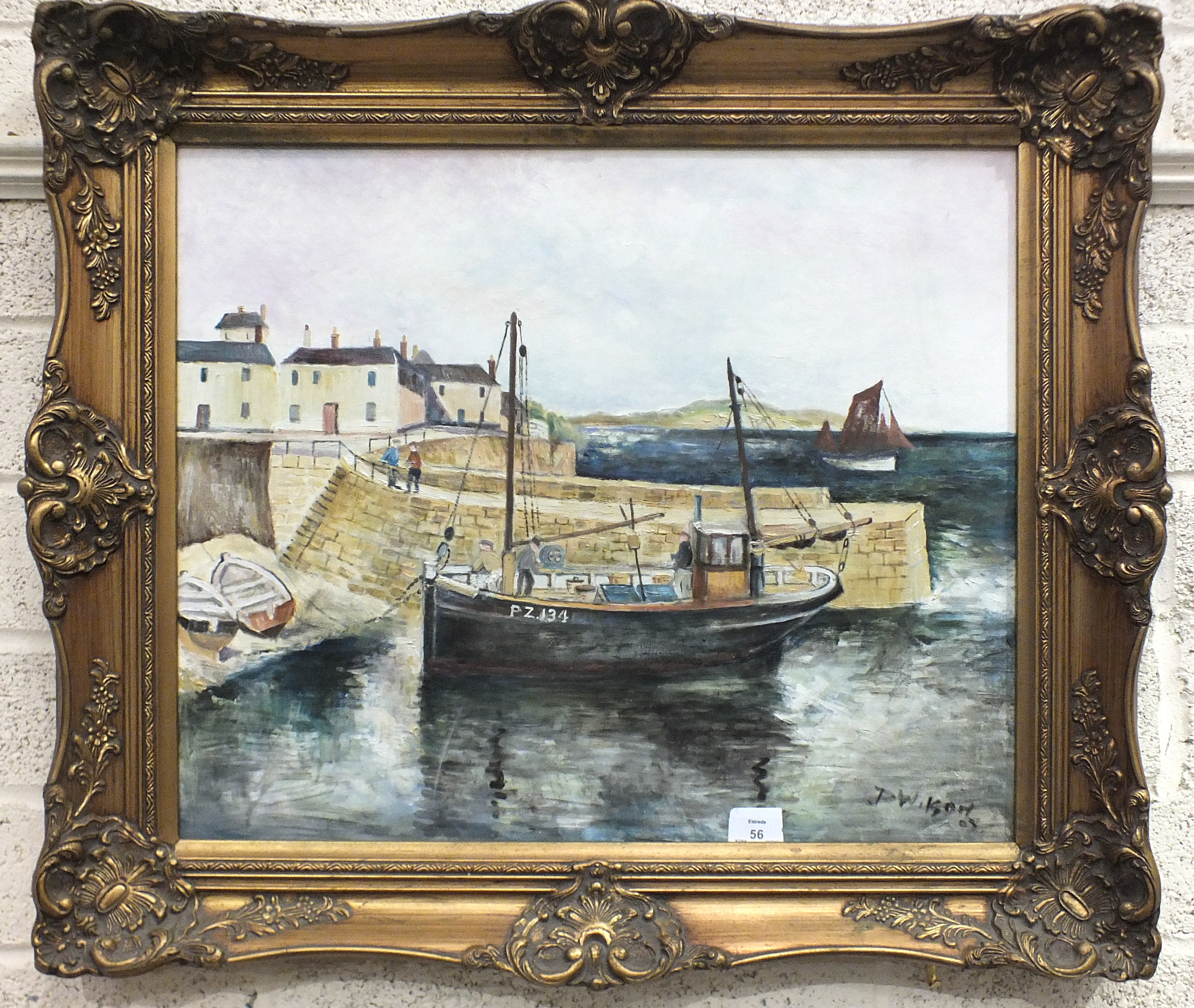 Lot 42 - Derek Wilson, 'Penzance trawler moored to quayside', oil on board, signed and dated '05, 50 x 60cm.
