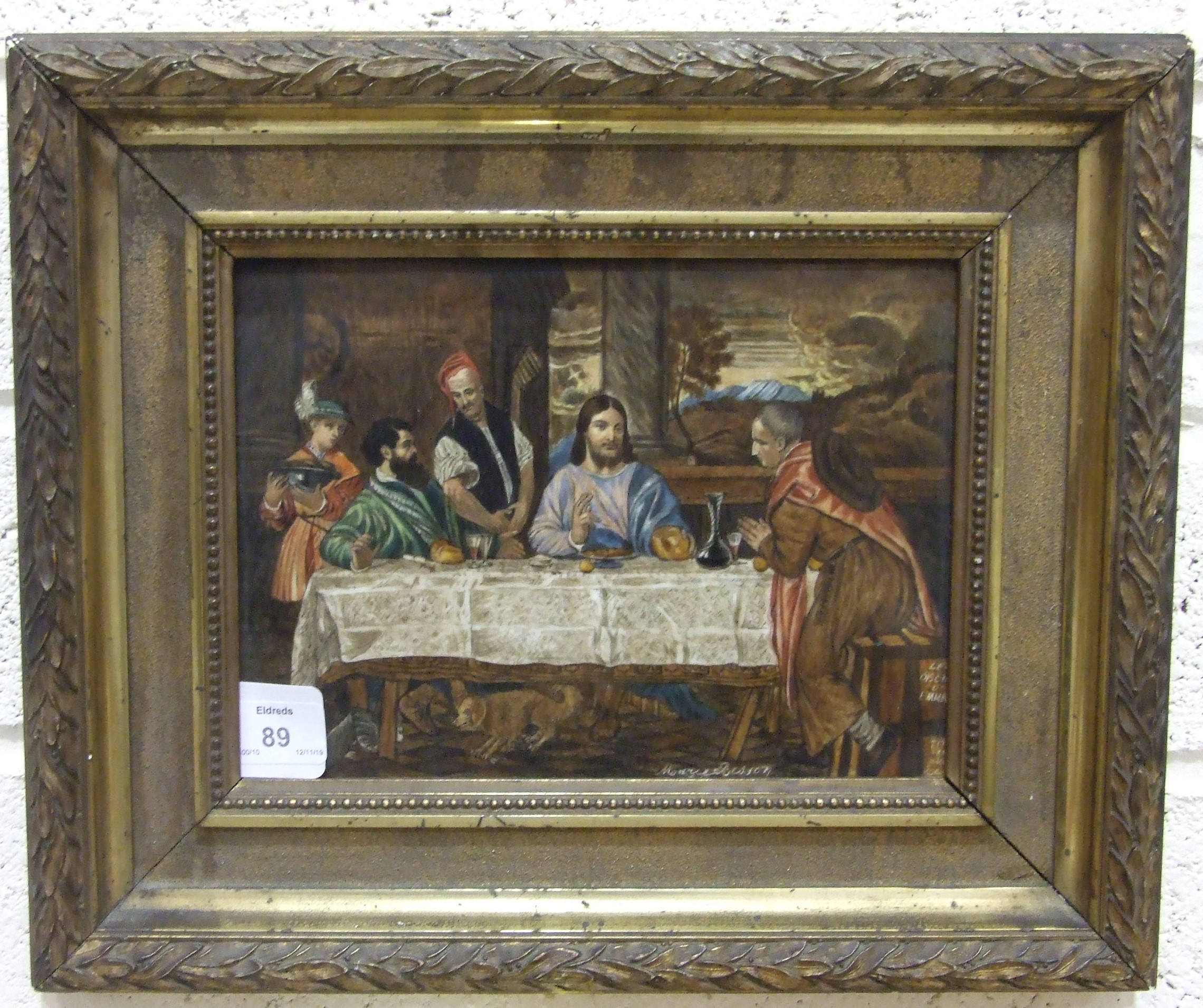 Lot 89 - A French rectangular ceramic plaque painted by Marie Besson, copy of a Titian painting 'Les