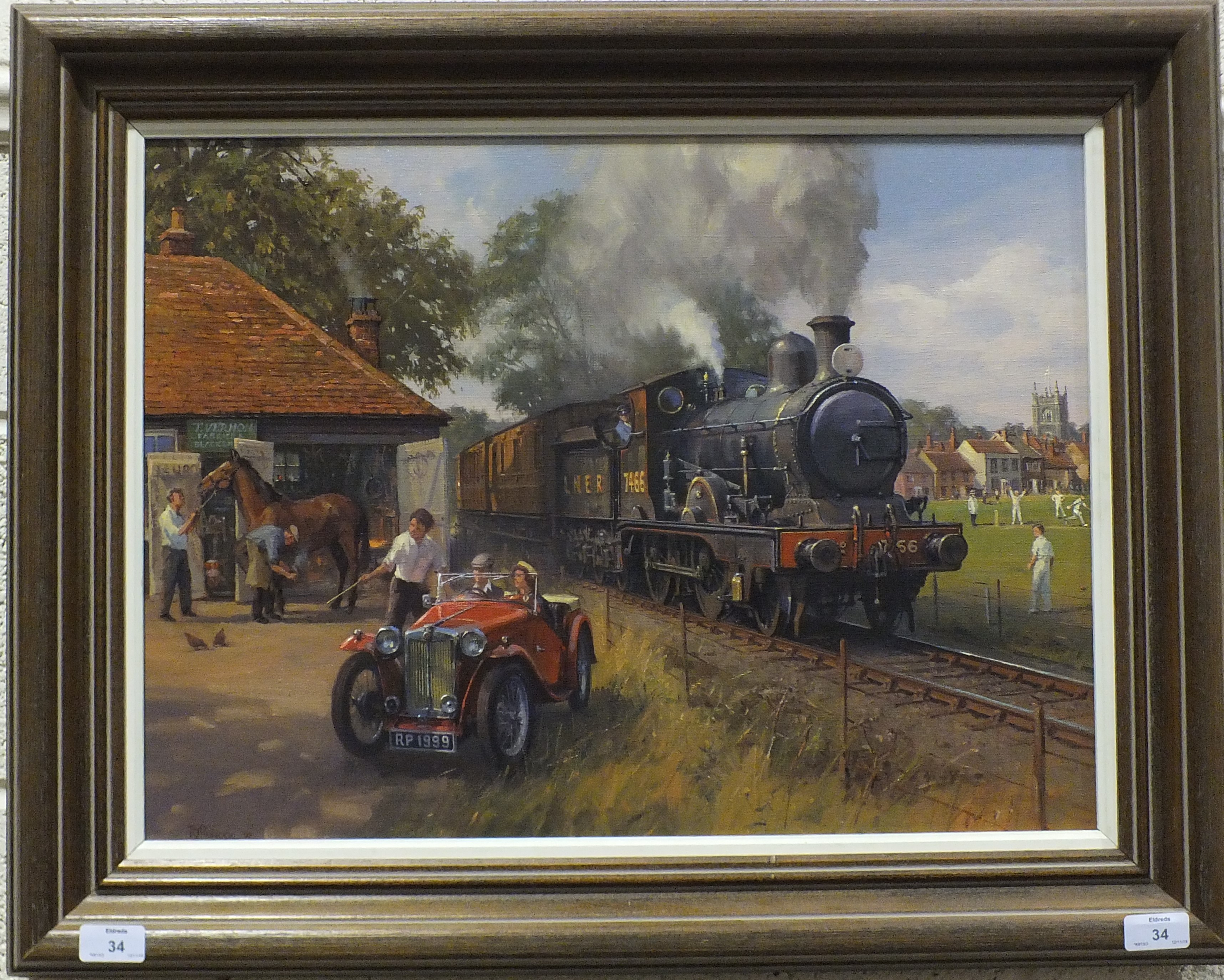 Lot 34 - R Pinnock, 'LNER locomotive with figures in an MG sports car in a blacksmith's yard, with village