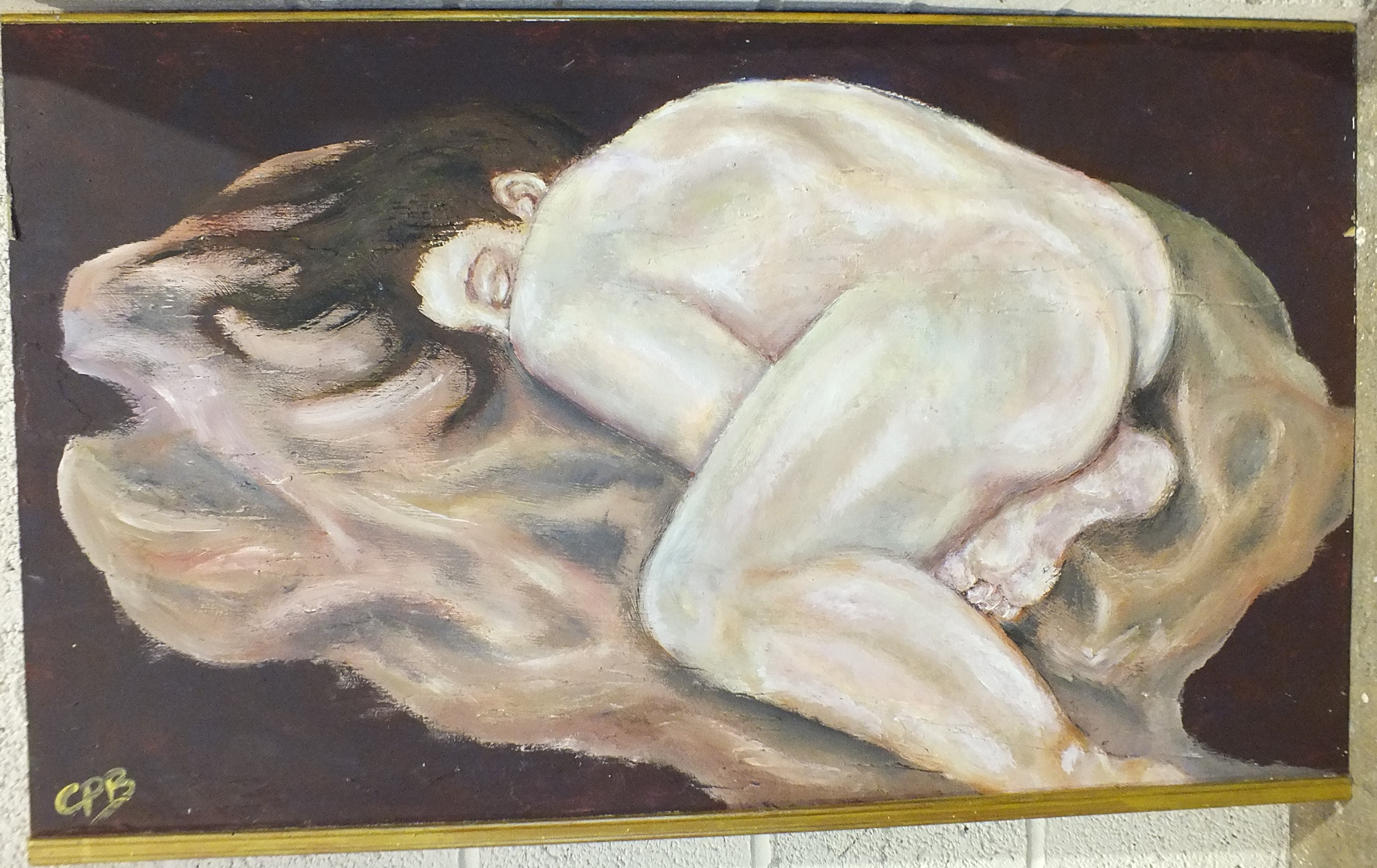 Lot 18 - C.P.B, contemporary, 'Nude figure on a bed', oil on block board, 60 x 100cm and three modern