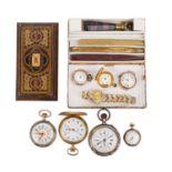 Nostalgie Konvolut - Siegelset, Briefbeschwerer und diverse Taschenuhren.Siegelset mit 2 Petschaft