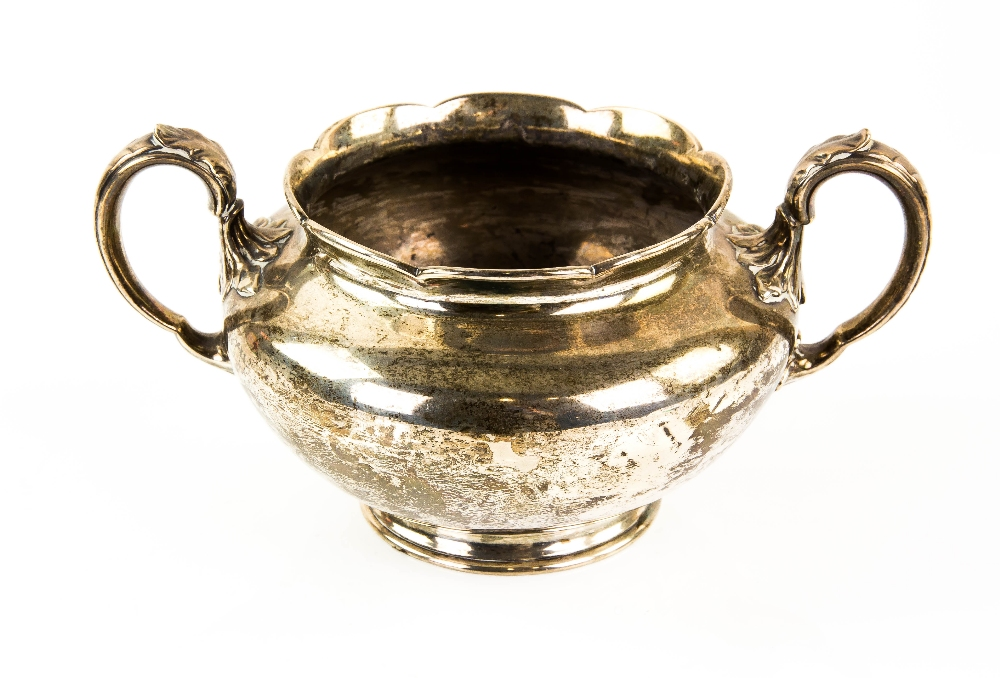Lot 2024 - Victorian silver twin-handled sugar bowl, with floriform rim, by Edward & John Barnard, London,