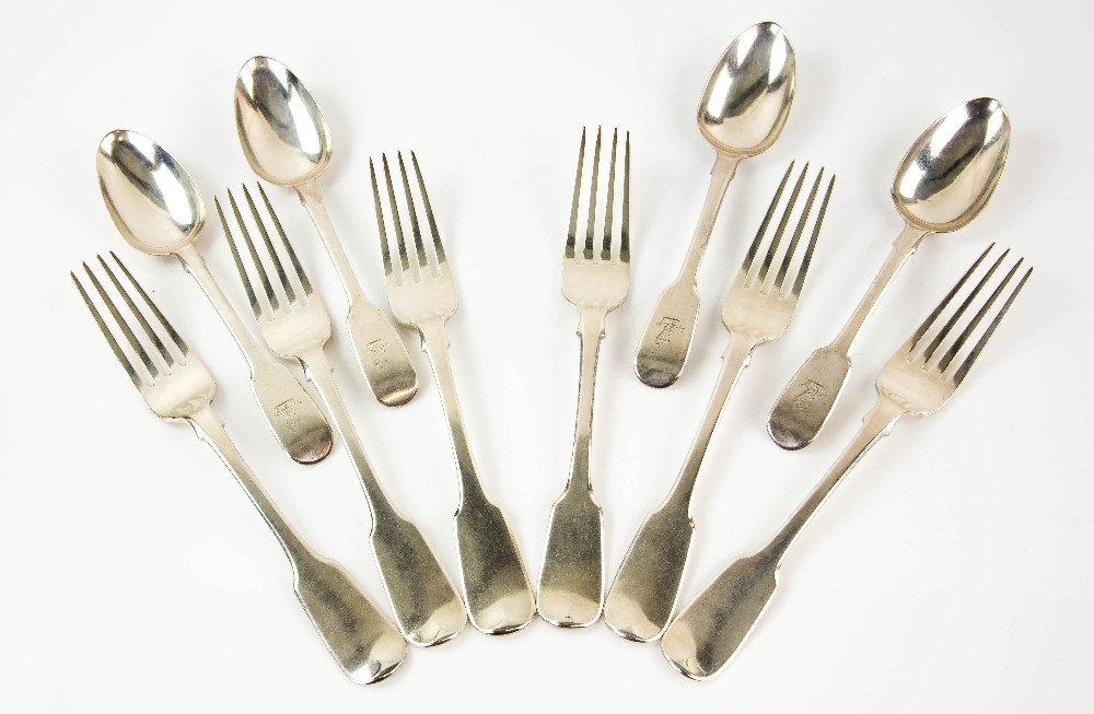 Lot 2003 - George IV set of six silver fiddle pattern table forks and four matching dessert spoons, by John