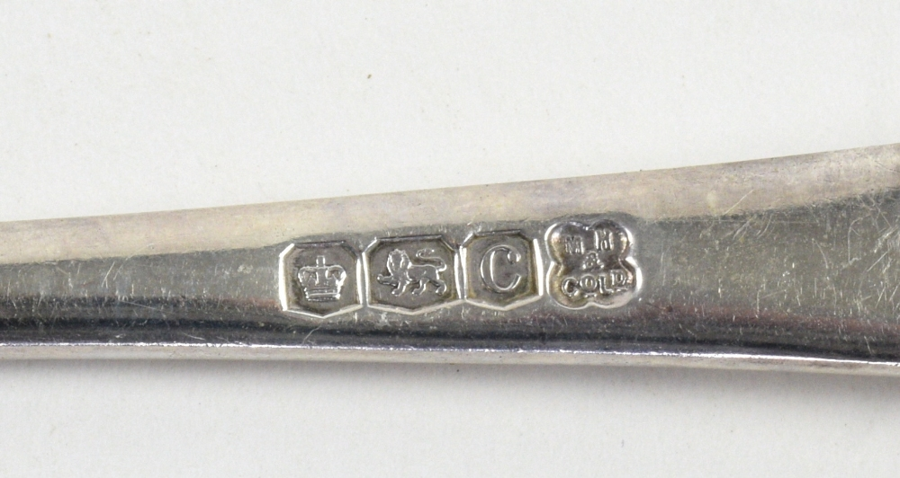 Lot 2030A - Set of six George V rat-tail pattern silver dessert spoons and soup spoons, by Martin, Hall & Co.