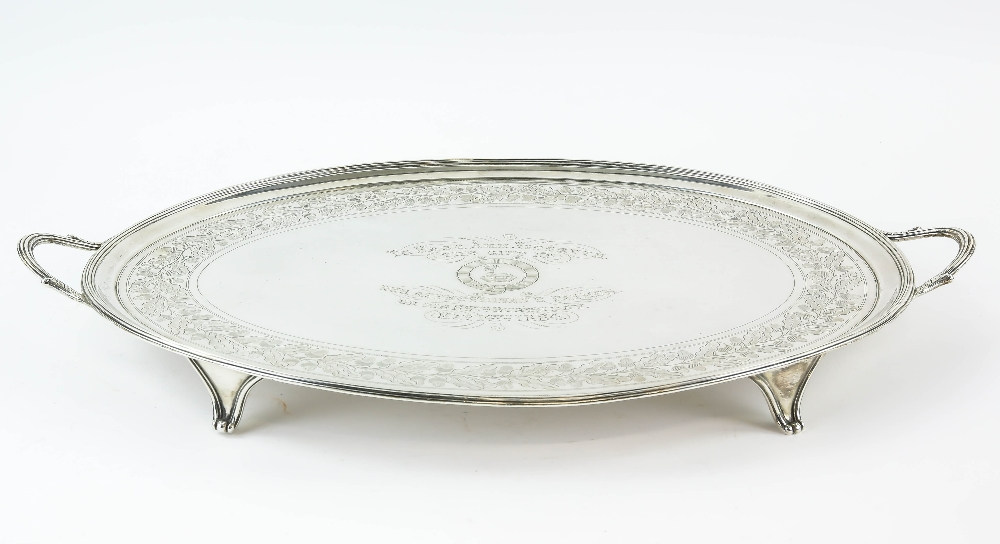 Lot 2042 - George III oval silver tray, by Peter, Ann & William Bateman, London 1802, with reeded border and