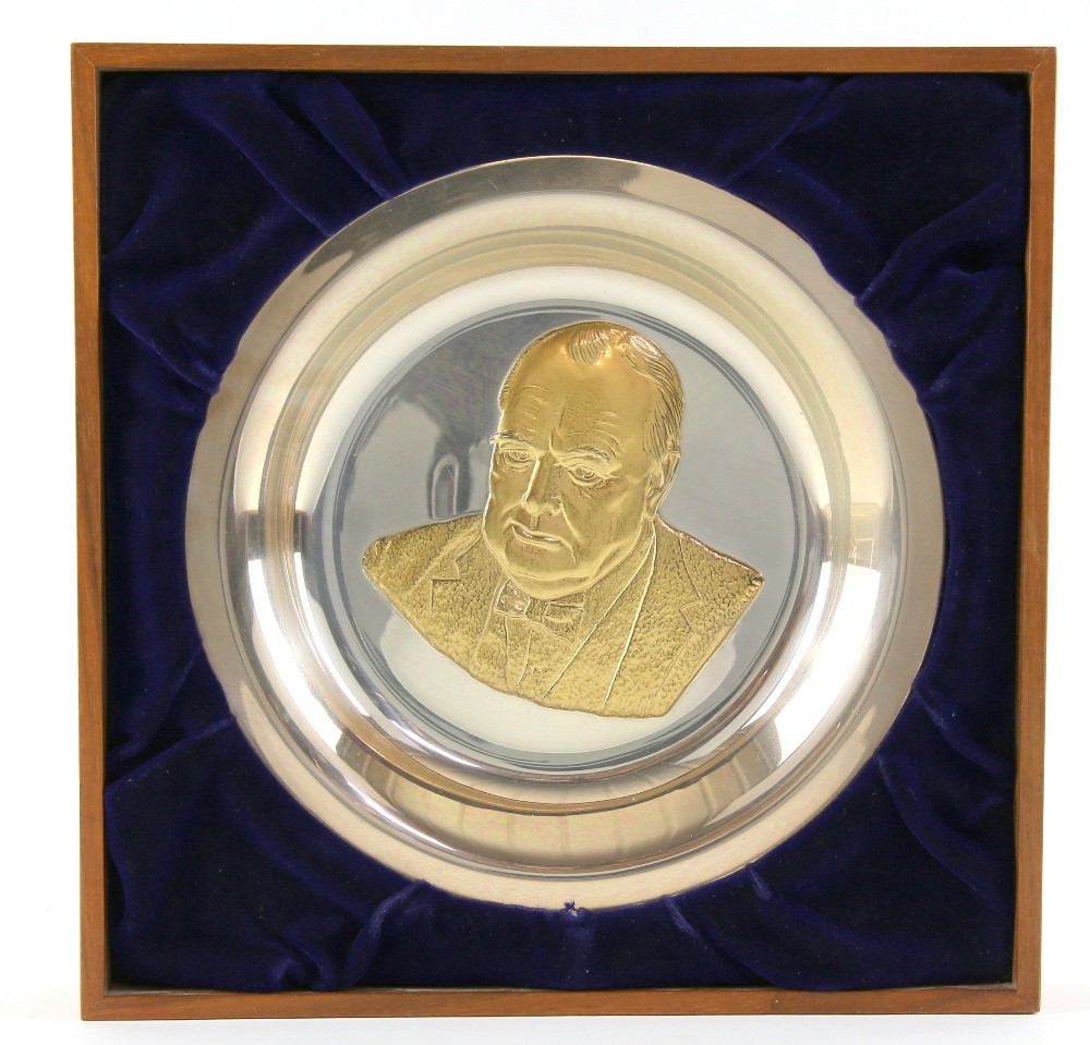 Lot 2012 - A Hallmarked Silver Winston Churchill Commemorative Plate, of plain circular design detailed to