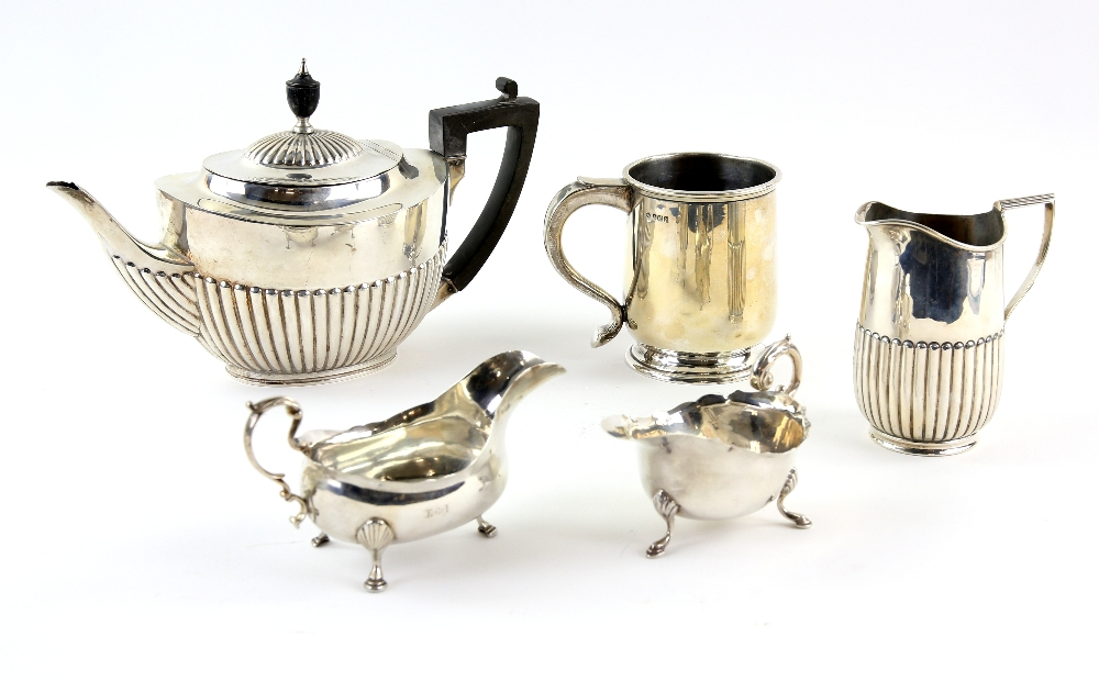 Lot 2033A - Edward VII silver teapot with half-gadrooned body, by William Hutton & Sons Ltd., London,1905, cream