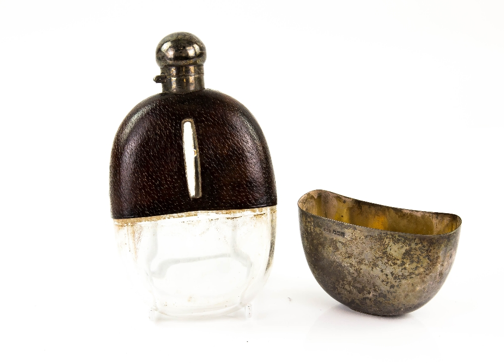 Lot 2027 - George V silver and leather mounted glass hip flask, by Henry Williamson Ltd., Sheffield, 1913.