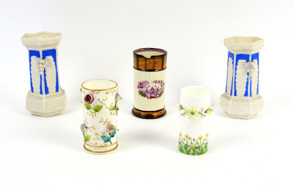 Lot 3029 - Early 20th century floral encrusted spill vase (10cm) and seven others. Provenance part of a
