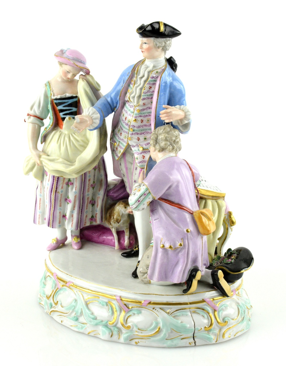 Lot 3039 - Meissen porcelain figure group of a man in a tricorn hat with dog at his feet and a man and woman