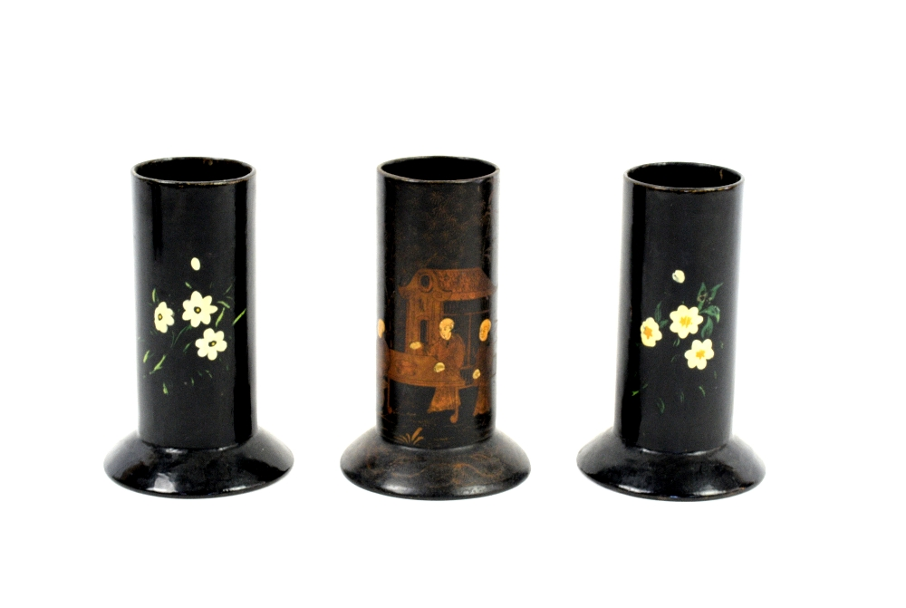 Lot 3016 - Pair of early 20th century papier mache spill vases in Chinese manner (12cm) and 6 others. (8)