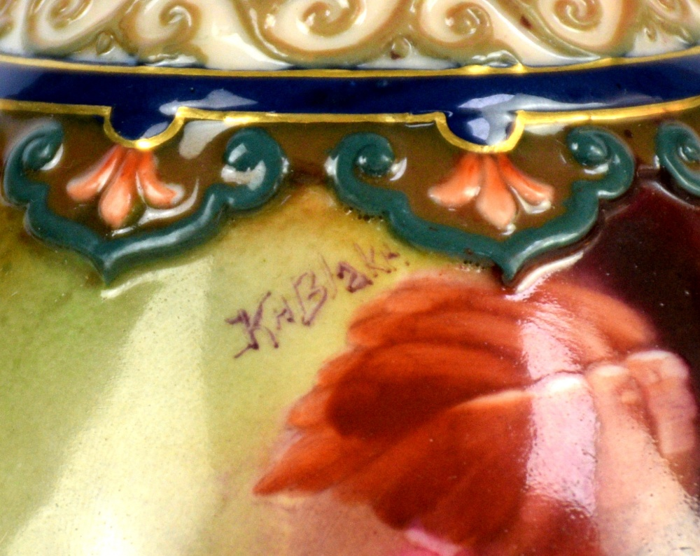 Lot 3032 - Royal Worcester vase decorated with Autumn leaves and fruit painted by Kitty Blake, date mark for