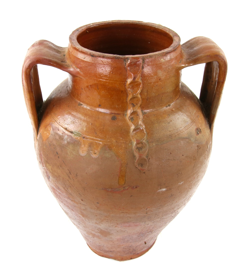 Lot 3048A - Brown part glazed terracotta olive oil vase with twin handles 37cm Provenance: Part of 35 lot