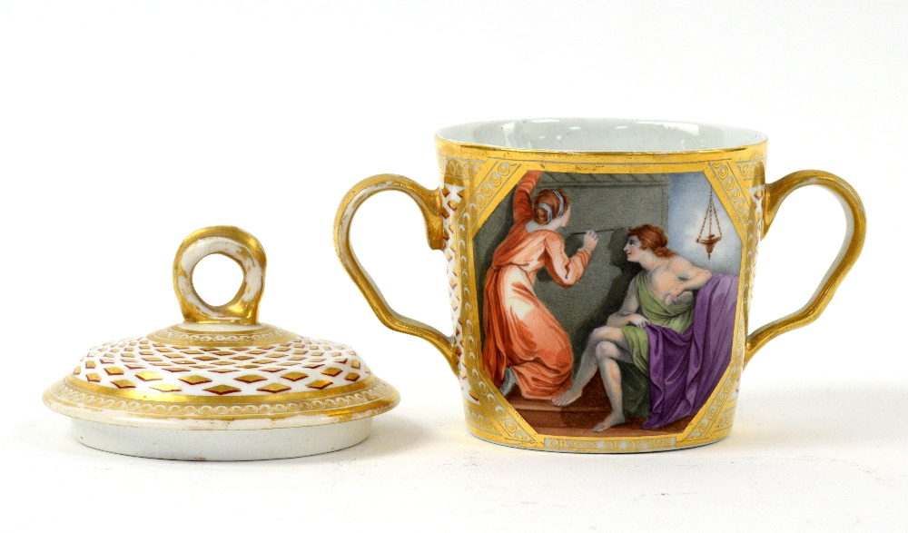 Lot 3033 - Chamberlains Worcester Chocolate pot and cover painted with the Maid of Corinth by John Wood circa