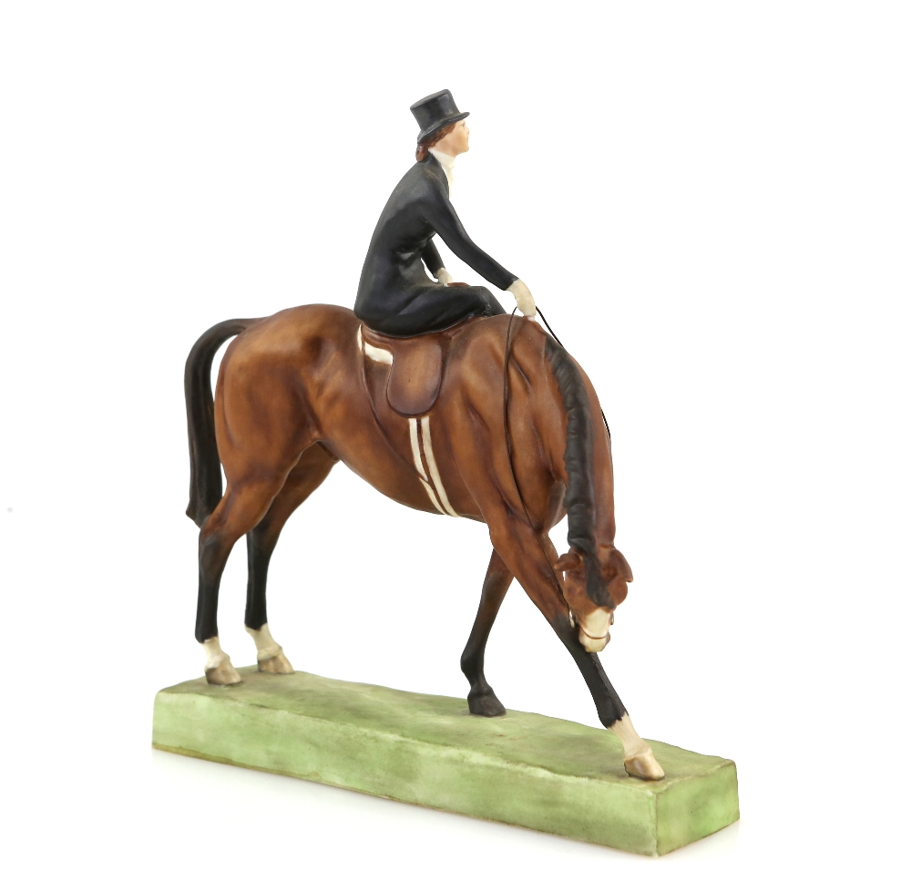 Lot 3005 - Royal Worcester porcelain figure of a lady on a horse entitled 'Rider at the Meet' after a design