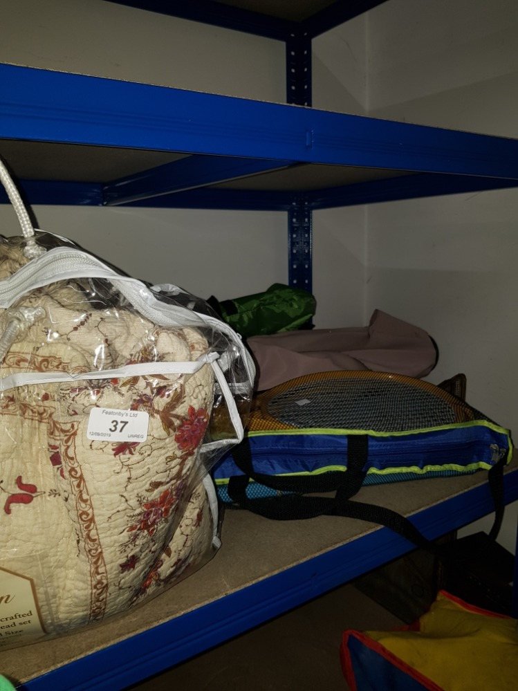 Lot 37 - A LOT INC COTTAGE GARDEN HAND CRAFTED QUILTED BEDSPREAD SET PARASOL ETC