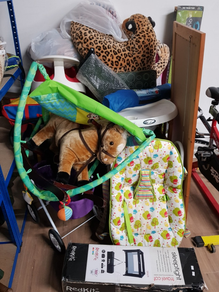 Lot 60 - GROUP LOT INCLUDING CHILDS SEAT SOFA TOYS AND ROCKING HORSE ETC