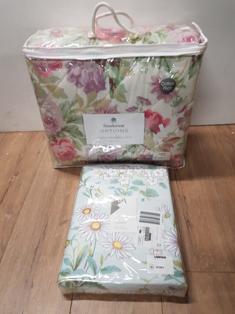 Lot 44 - SANDERSON OPTIONS DOUBLE KING QUILTED THROW AND FLORAL PATTERNED CURTAINS 167 X 183CM