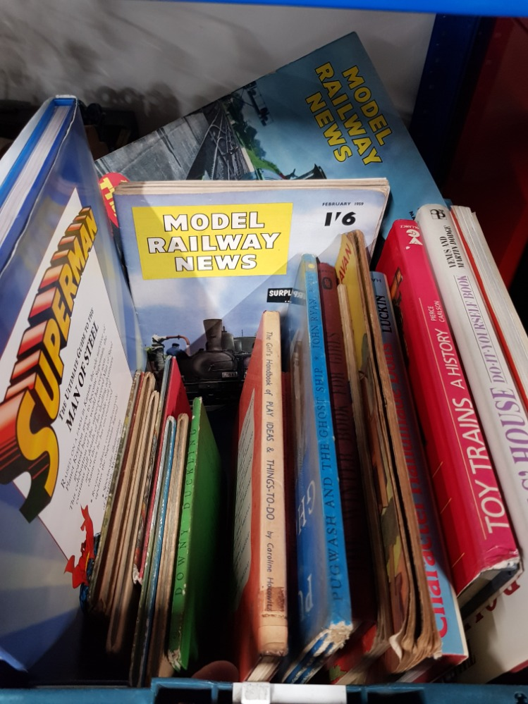 Lot 28 - A BOX OF ASSORTED BOOKS INC MODEL RAILWAY NEWS ETC