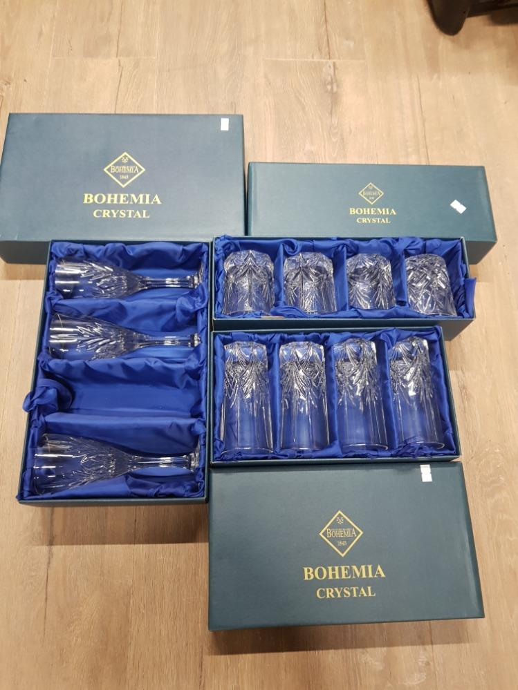 Lot 263 - BOHEMIA CRYSTAL TO INCLUDE SET OF 4 TUMBLER SET OF 4 TALL GLASSES AND 3 WINE GLASSES ALL BOXED