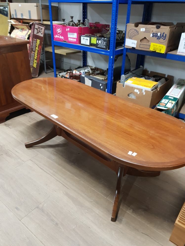 ERCOL STYLE COFFEE TABLE ON DOUBLE PEDESTAL BASE