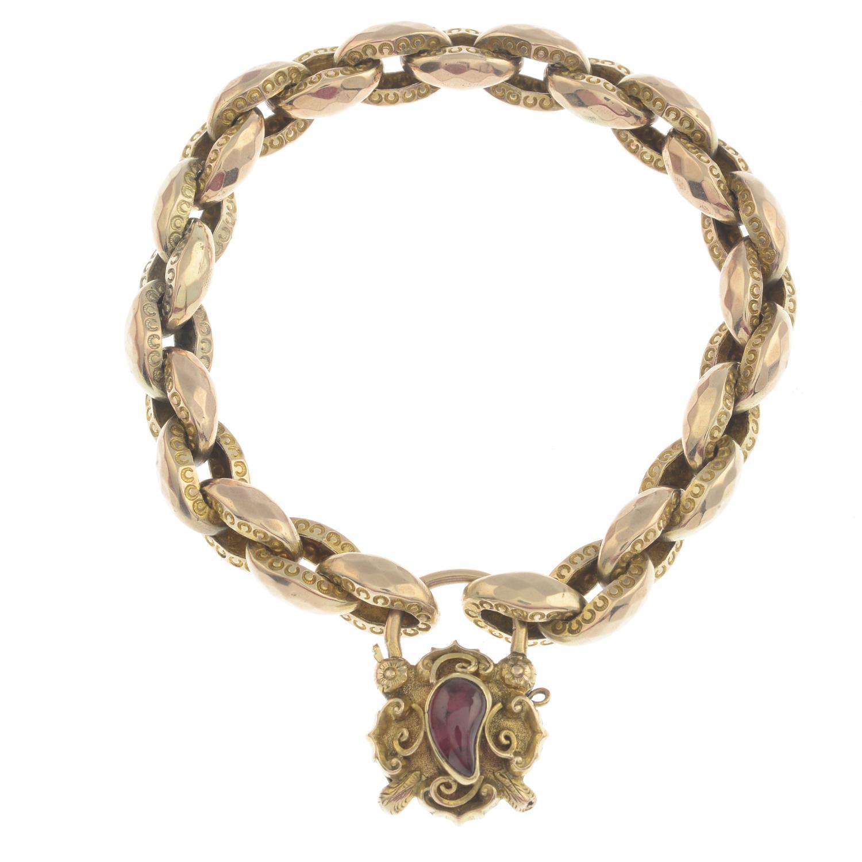 Lot 59 - A mid 19th century gold foil-back garnet bracelet.French assay marks.Length 18cms.