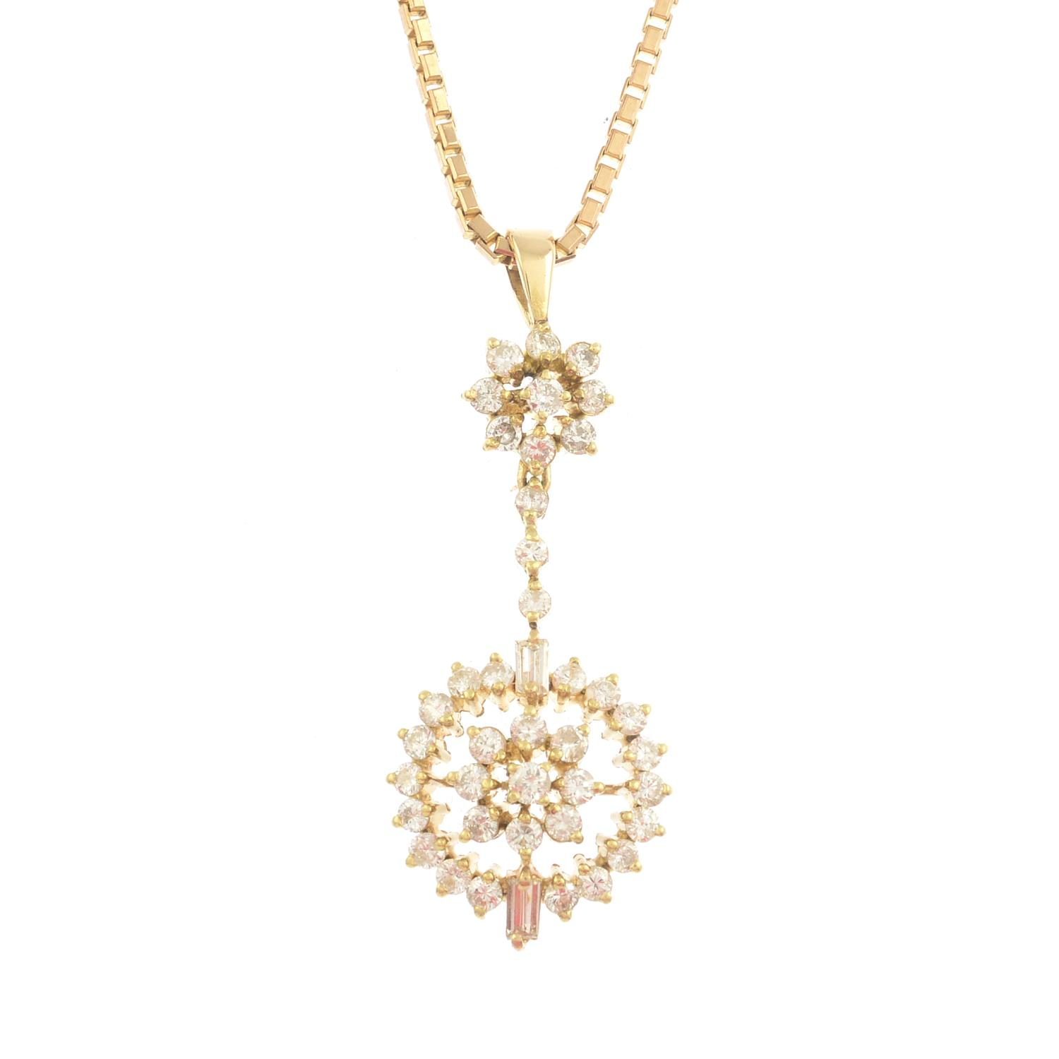 Lot 40 - A diamond pendant, suspended from a 9ct gold box-link chain.Estimated total diamond weight 0.50ct.