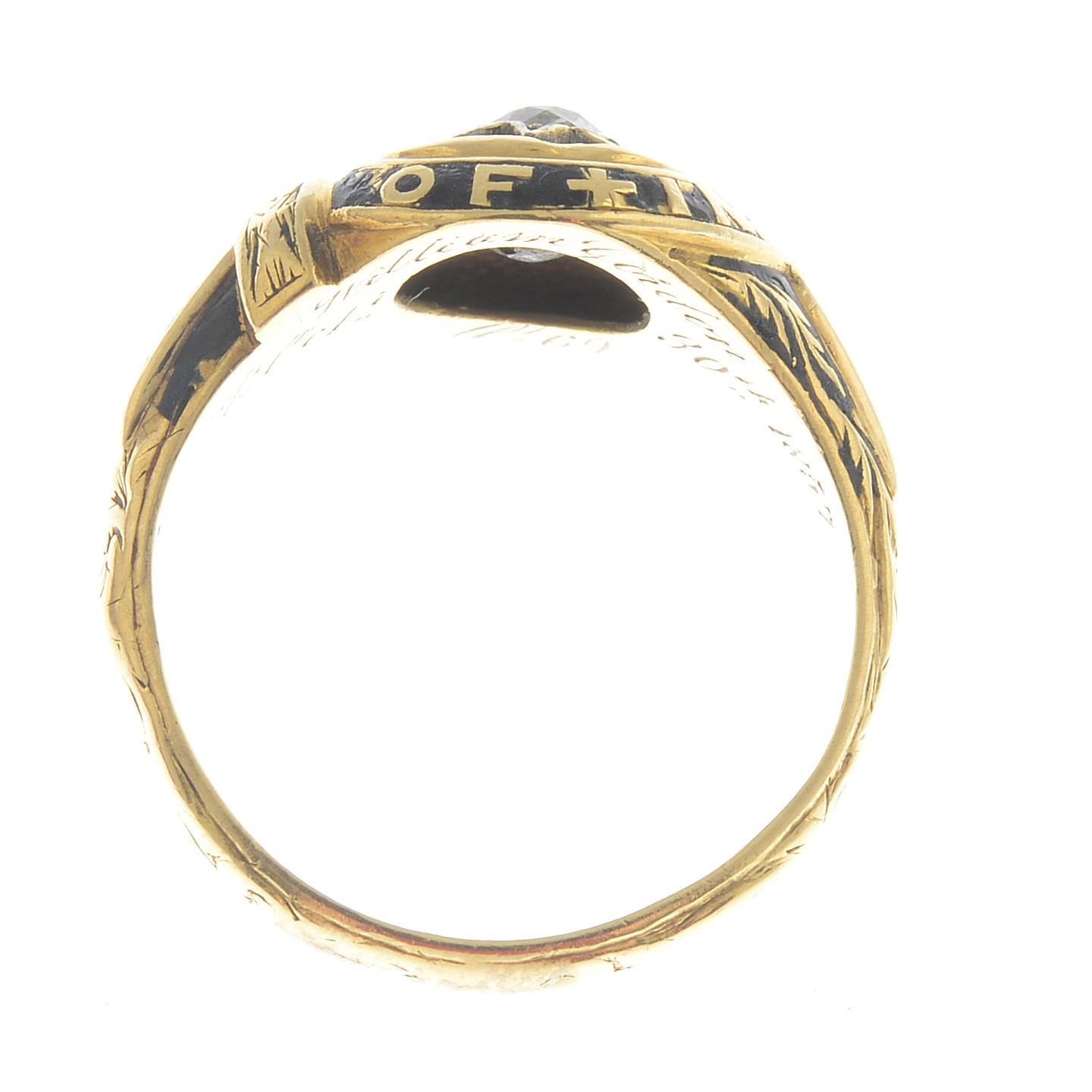 Lot 10 - An early Victorian 18ct gold old-cut diamond and black enamel memorial ring.