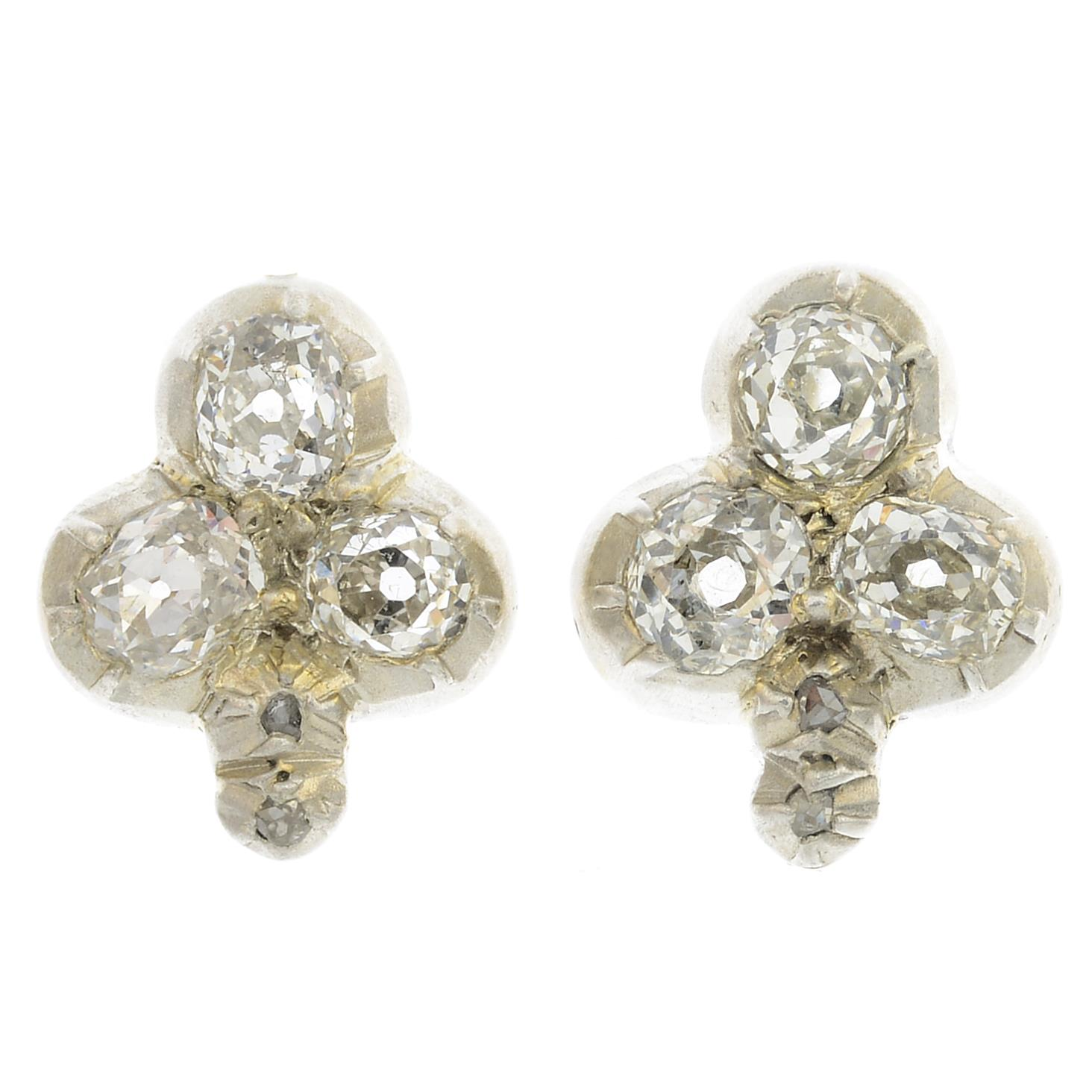Lot 50 - A pair of diamond cluster earrings.Estimated total diamond weight 1.20cts,