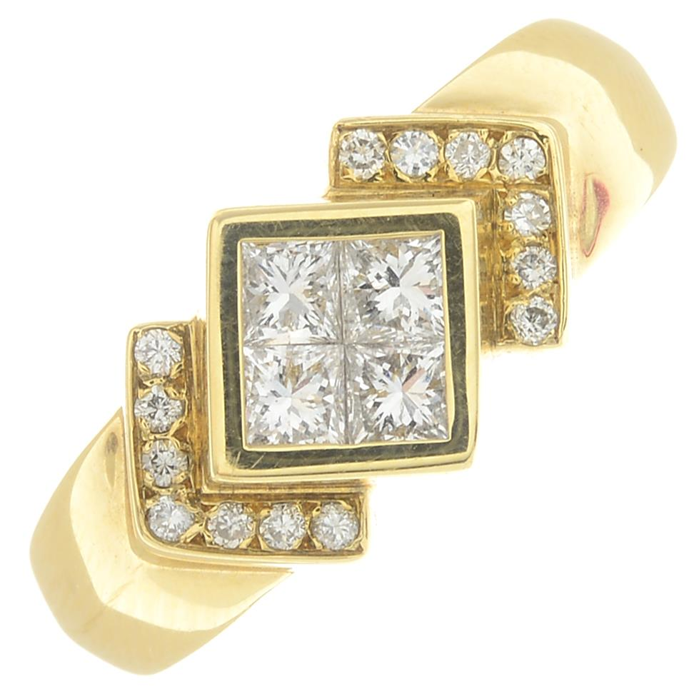 Lot 9 - An 18ct gold diamond ring.Estimated total diamond weight 0.60ct, G-H colour, VS clarity.