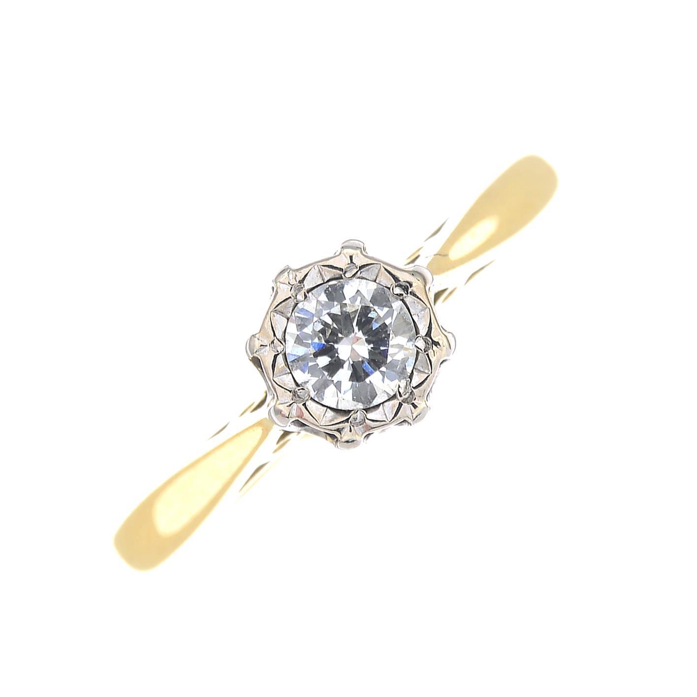Lot 52 - An 18ct gold diamond single-stone ring.Diamond weight 0.17ct,