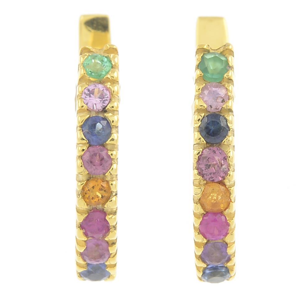 Lot 19 - A pair of gem-set earrings,