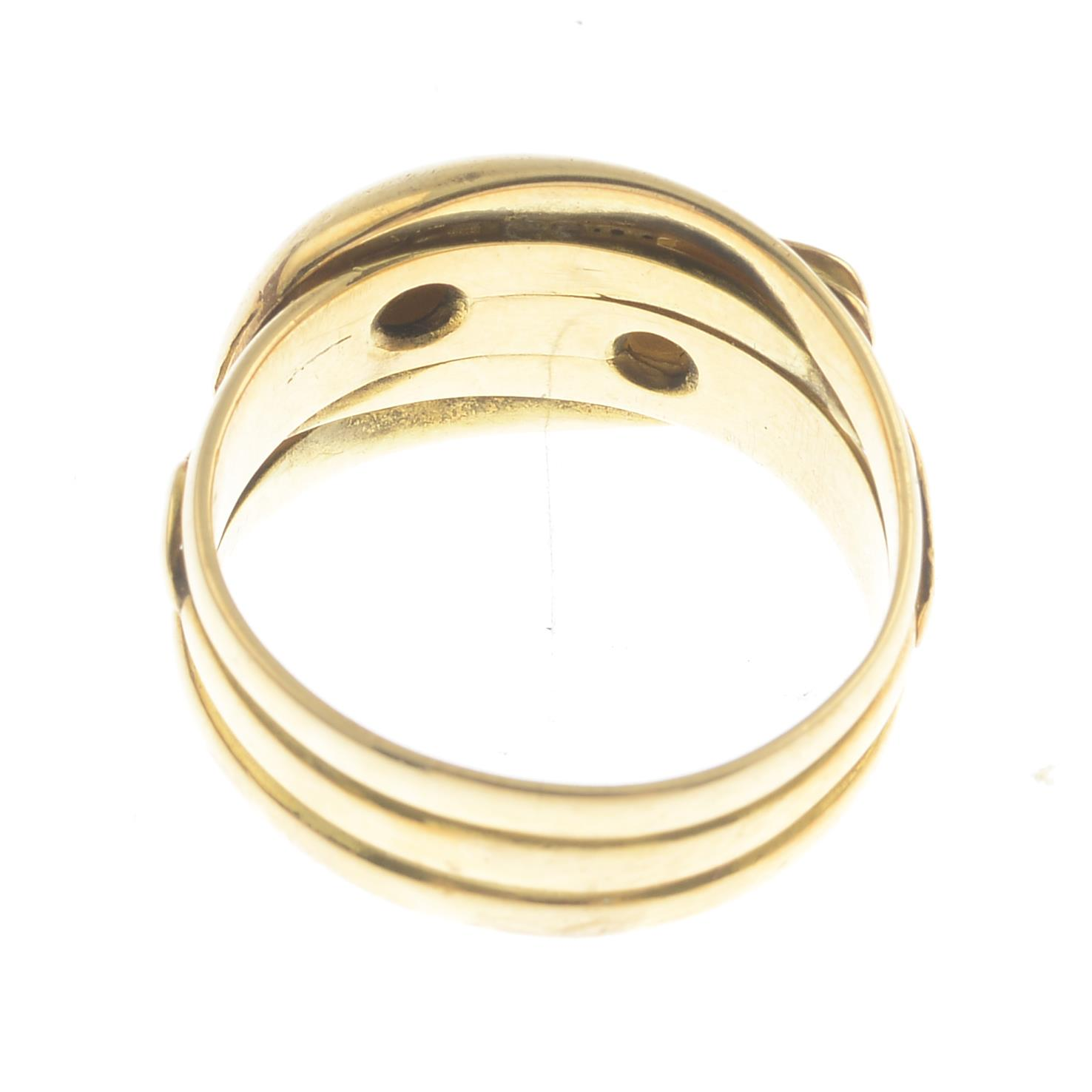 Lot 58 - A late Victorian 18ct gold single-cut diamond double snake ring.Estimated total diamond weight