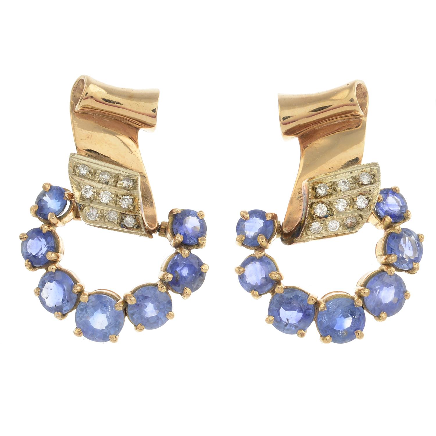 Lot 7 - A pair of mid 20th century gold sapphire and diamond earrings.Estimated total diamond weight