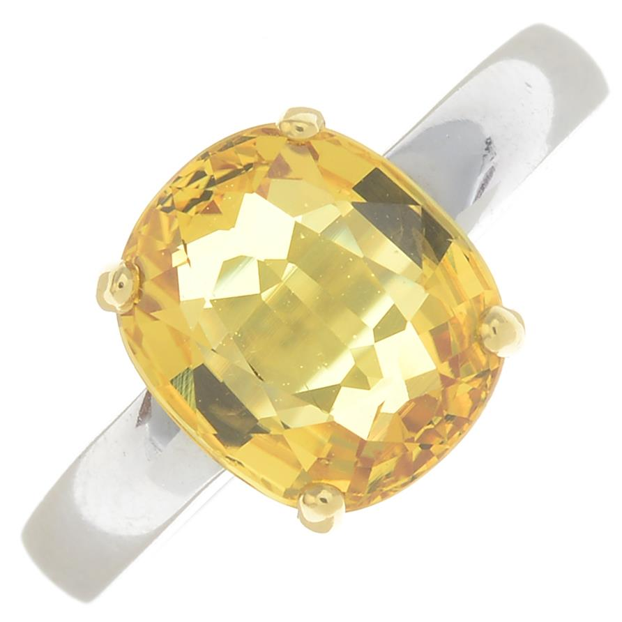 Lot 44 - An 18ct gold yellow sapphire single-stone ring.Sapphire calculated weight 3.35cts,