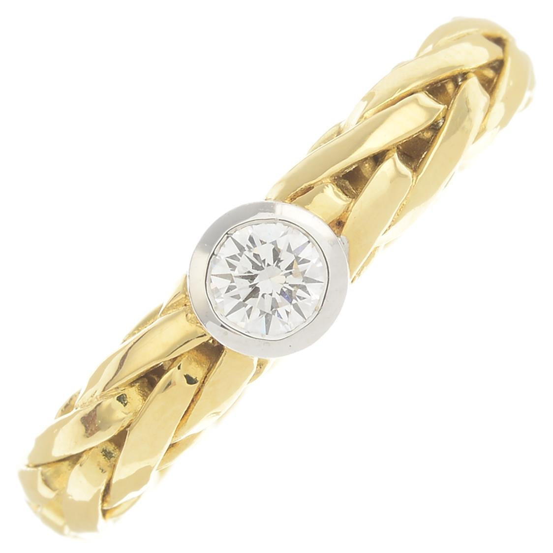 Lot 6 - An 18ct gold diamond single-stone ring.Diamond weight 0.25ct,