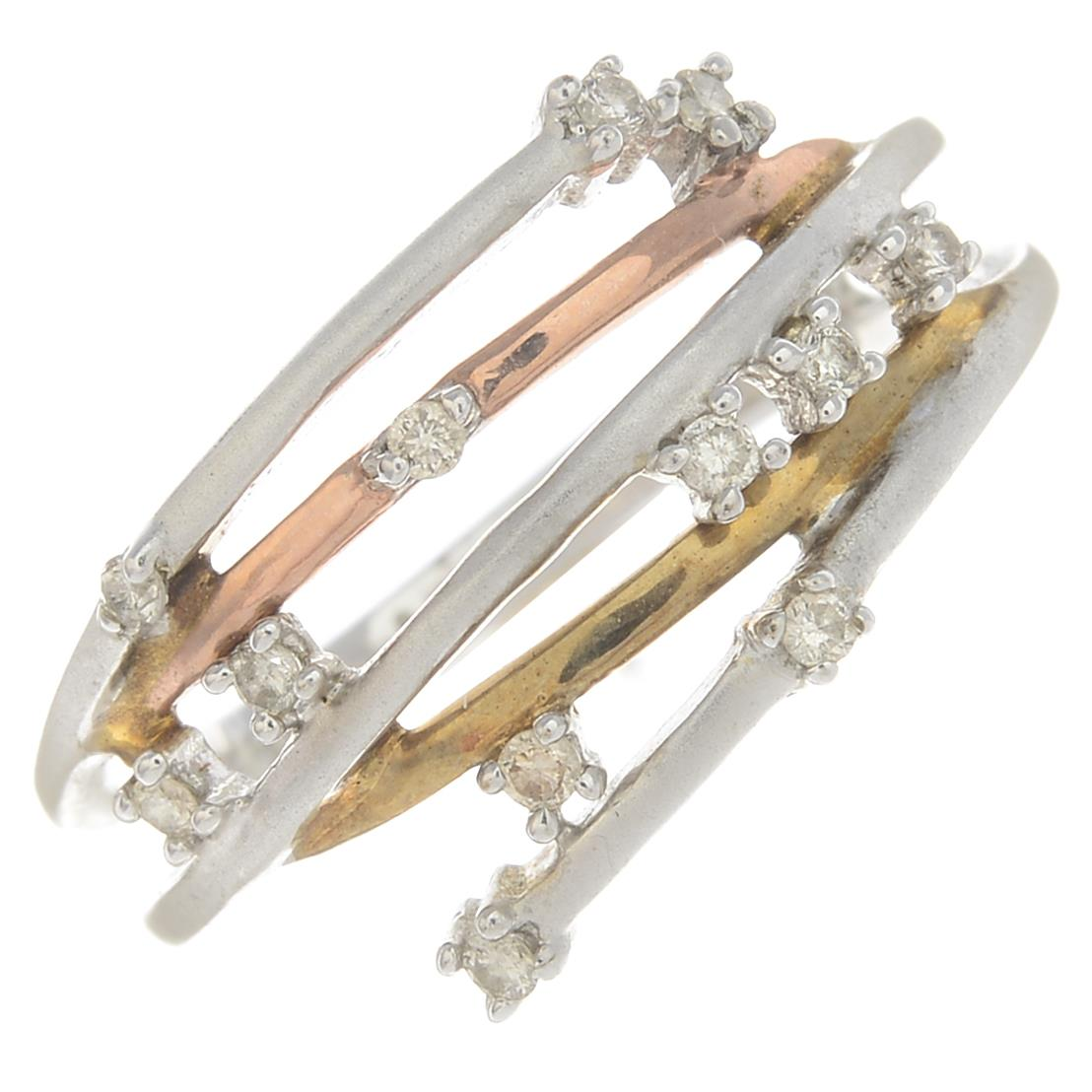 Lot 48 - A 9ct gold diamond bangle and a 9ct gold diamond dress ring.Hallmarks for Birmingham and