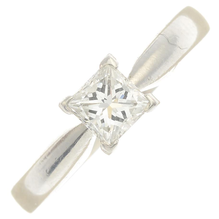 Lot 8 - A platinum single-stone ring, set with square-shape diamond weighing 0.51ct.