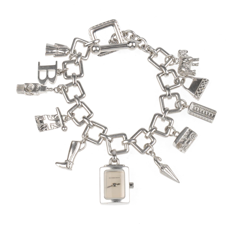 Lot 25 - BURBERRY - a lady's silver Signature bracelet watch.