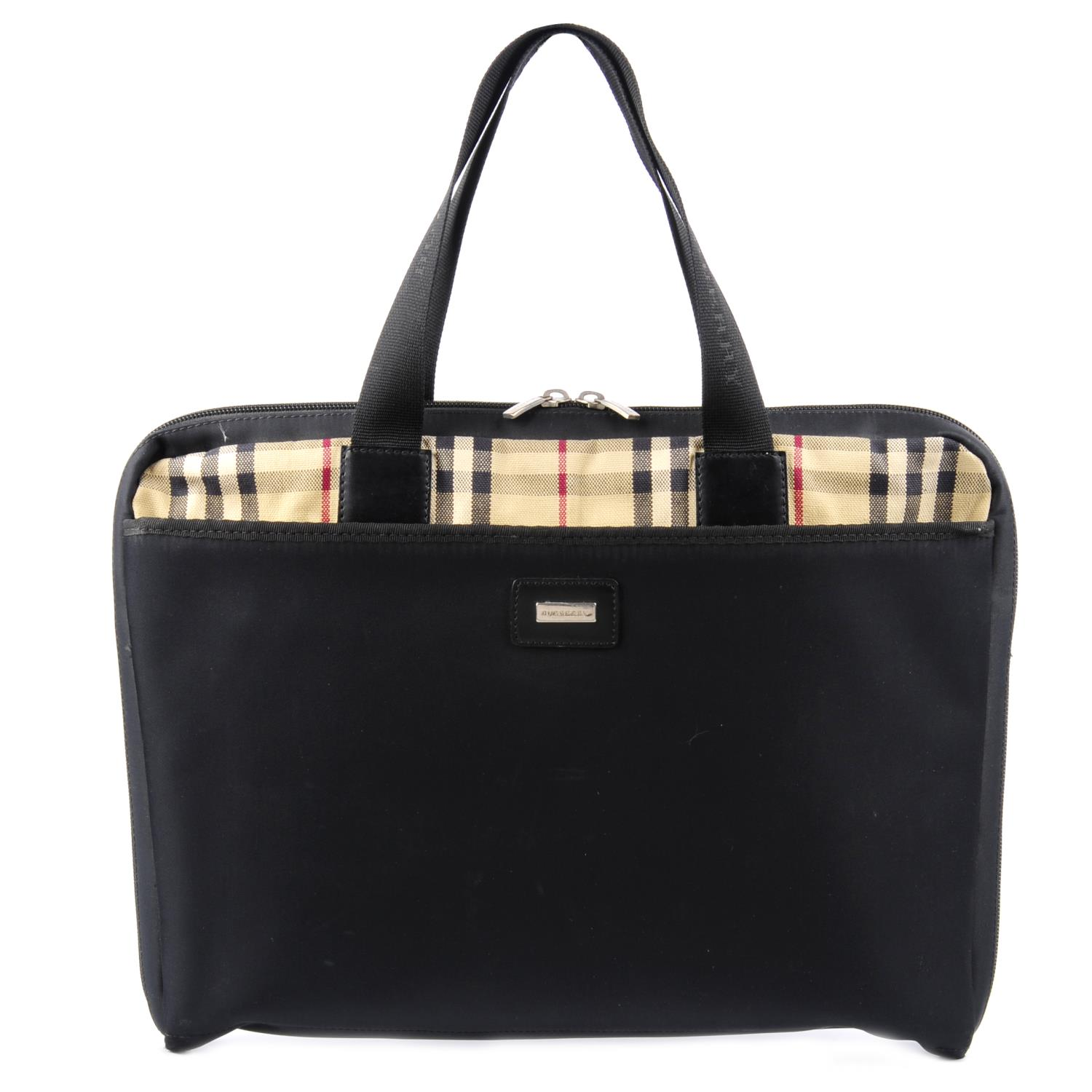 Lot 15 - BURBERRY - a Check and nylon briefcase.