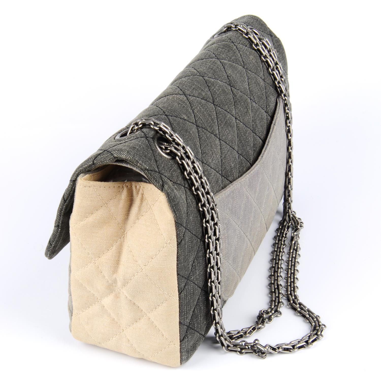 Lot 44 - CHANEL - a demin Tricolour 2.55 Reissue Flap handbag.