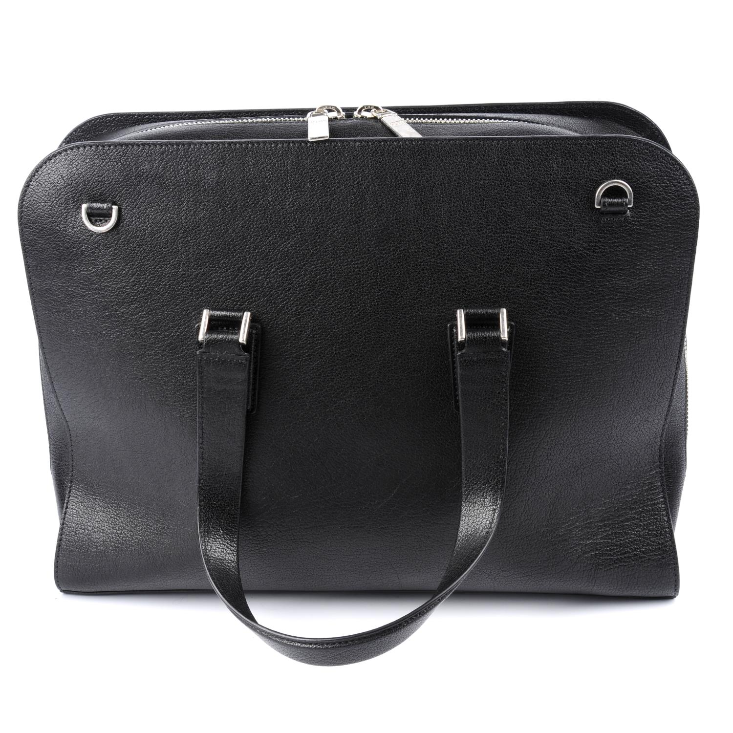 Lot 1 - ALEXANDER MCQUEEN - a black leather Heroic briefcase.