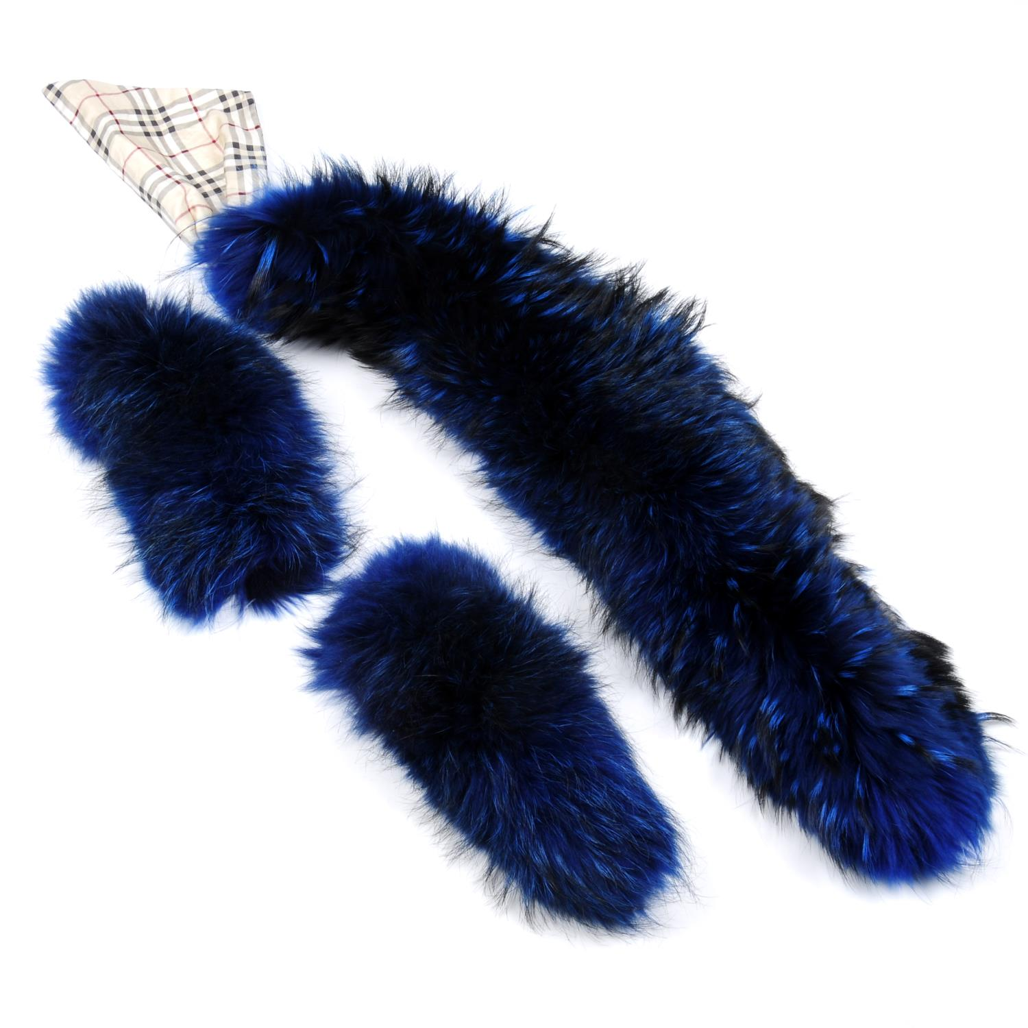 Lot 23 - BURBERRY - a dyed blue fox fur collar and cuffs.