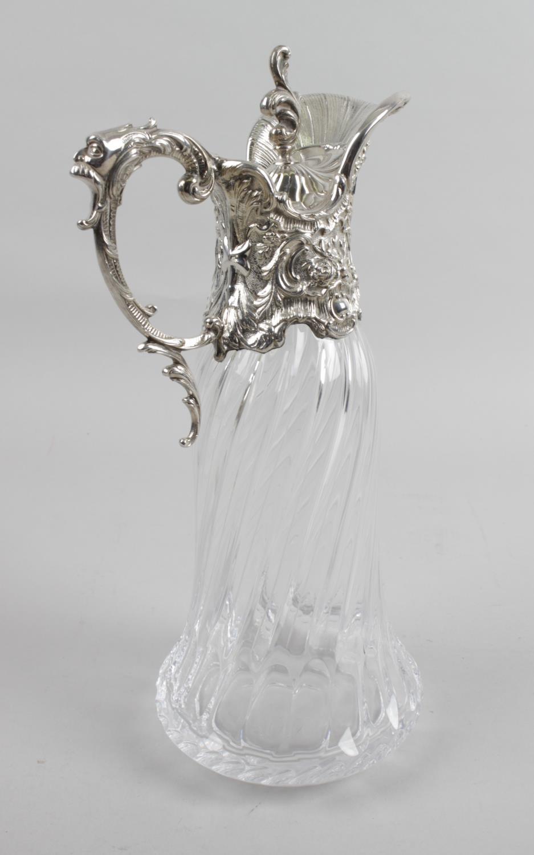 Lot 165 - A modern silver mounted glass claret jug,